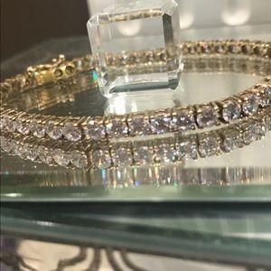 Jewelry - SS w/ Gold Overlay Cubic Zirconia Tennis Bracelet